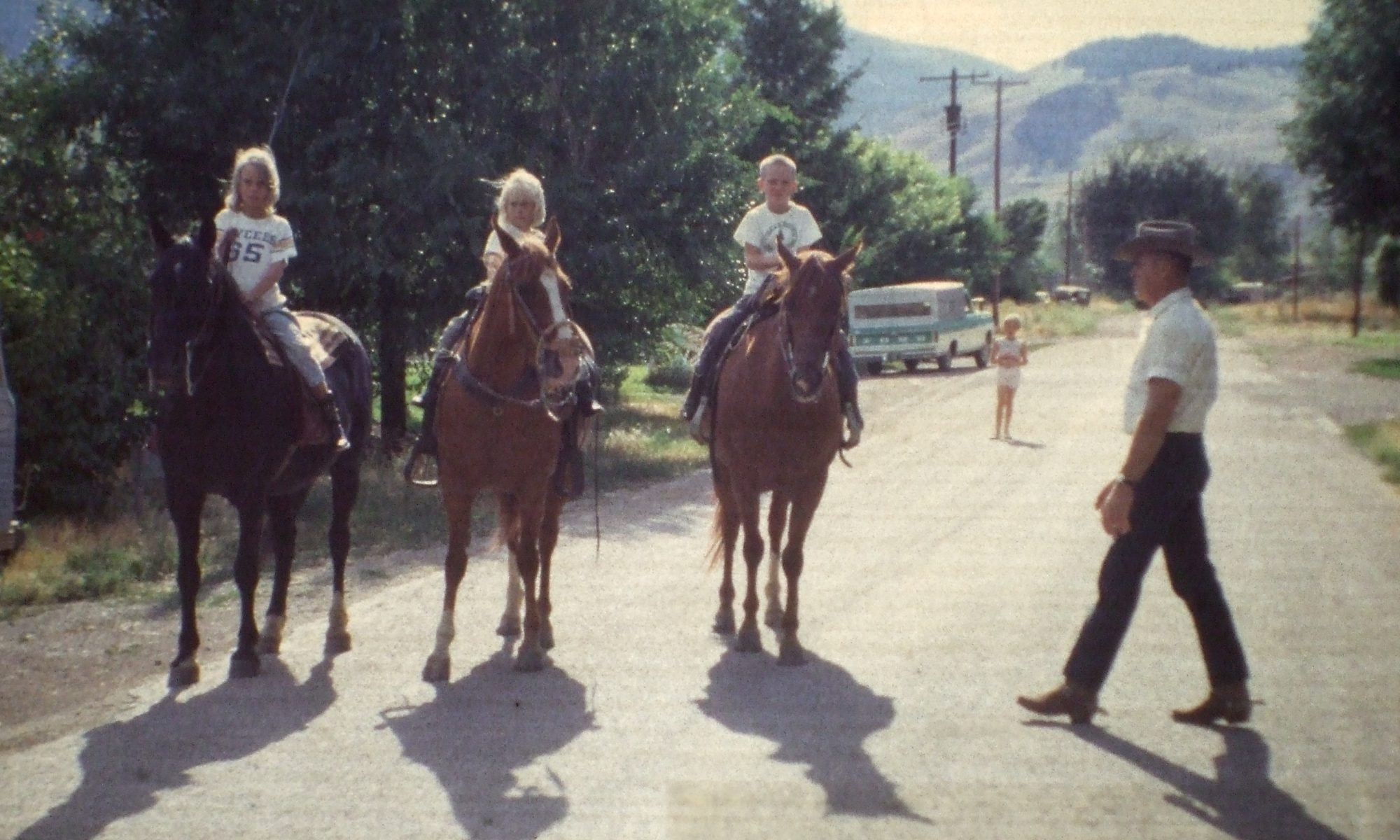 Color image of the Gwartney grandchildren on horseback in Idaho